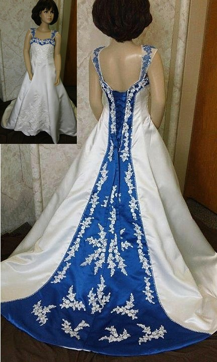 Royal Blue Ivory Flower Girl Dress Including A Long Train