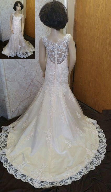 Flare Jr Bride Dress To Match Bride With Illusion Back