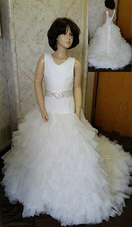 27d4f81fe1b Fit and flare flower girl dress with ruffle train